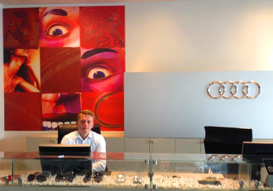 Audi reception med corporate branding av Catrine Näsmark