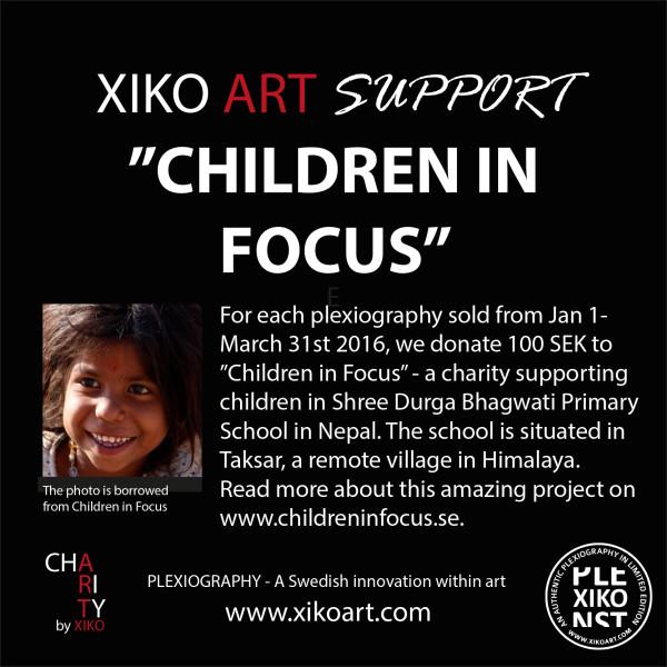 Plexiografi konst av Catrin Näsmark supportar välgörenhet Children in Focus